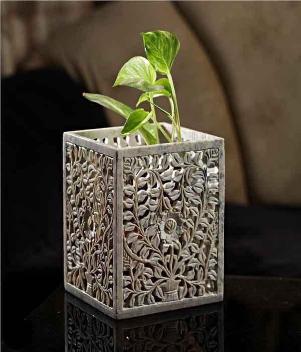 DI- Carved stone artistic Planter  .