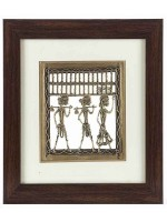 DI- Handcrafted Tribal Metal Craft With Rosewood Frame  .