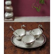 DI- silver plated Enameled Swan utility ware .