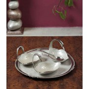 DI- Swan bowls and Tray set with Silver plating  .