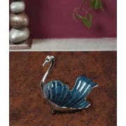 DI- Violet Blue enamel  Silver plated Brass Tray  .