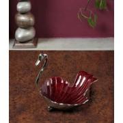 DI- Festive Red enamel  Silver plated Brass Tray  .