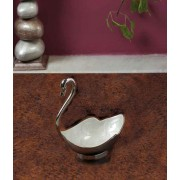 DI- Ivory Enamel inlayed Swan in Silver plated Brass .