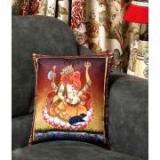 DI- Ganesh Motif Printed Velvet Cushion Cover  .