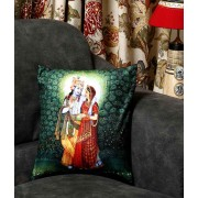 DI- Krishna and Radha Printed Velvet Cushion Cover .