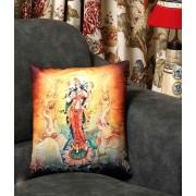 DI- Goddess Laxmi Printed Velvet Cushion Cover .