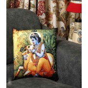 DI- Lord Krishna with Cow Printed Velvet Cushion Cover .