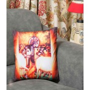 DI- Velvet Printed Lord Krishna and Cow Cushion Cover  .