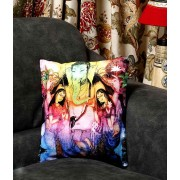DI- Colourful Velvet Floral Design Ganesh Cushion Cover .