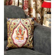 DI- Golden Velvet Cushion with Ekadanta Ganapati Print .