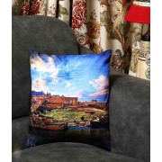 DI- Amber Fort of Jaipur Velvet Cushion Cover  .