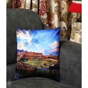 DI- Amber Fort of Jaipur Velvet Cushion Cover  .