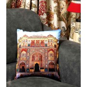 DI- Suraj Pole Gate Amber Jaipur Velvet Cushion Cover .