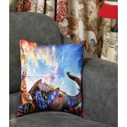 DI- Royal Elephant Procession Velvet Cushion Cover .