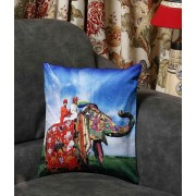 DI- Rajasthani Royal Elephant Velvet Cushion Cover .