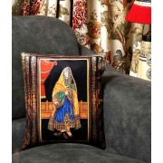 DI- Rajasthani lady Velvet Cushion cover .