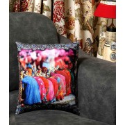 DI- Gangaur Festival Printed Velvet Cushion Cover .