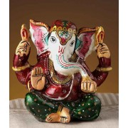 DI- High Quality Enamelled Metal Lord Ganesh Painted Figurine .