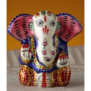 DI- Yoga Ganapati Hand Painted Enamelled Metal  .