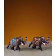 DI- Enamelled Metal Hand Painted Royal Elephants  .