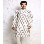 DI-  Feather Block Print Cotton Kurta .