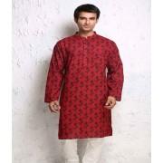 DI- Ikat style Block Printed Cotton Kurta .