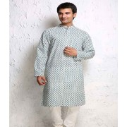 DI- White and Light Blue Block Printed Cotton Kurta .