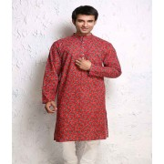 DI- Red and Green Block Printed Cotton Kurta .