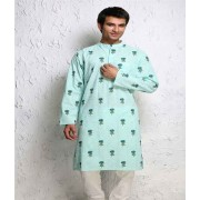 DI- Sea Green Block Print Pure Cotton Kurta .