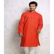 DI- Honey Comb Block Print Cotton Kurta .