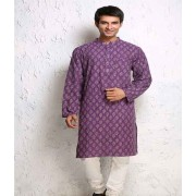 DI- Palm Leaf Block Print Cotton Kurta  .
