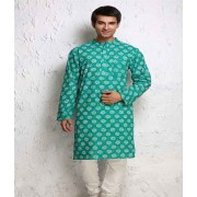 DI- Green Floral Block Print Cotton Kurta .