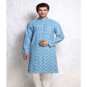 DI- Block Printed Light Blue Pure Cotton Kurta .