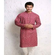 DI- Onion Pink Block Printed Cotton Kurta .