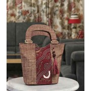 DI- Pale Chestnut Jute Embroidery Bucket Bag  .