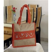 DI- Beautifully Hand Embroidered Orange-Brown Bag .