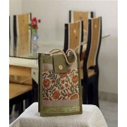 DI- Block Printed Flower Design Bag Of Recycled Jute .