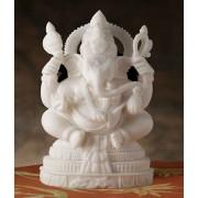 DI- Pure White Marble Tryakshara Ganapati Statute .
