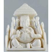 DI- Rajastani White Marble Haridra Ganapati Statue .
