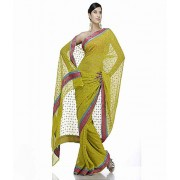 DI- Mirror work gold print saree  .