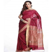 DI- Thread work Border, Pallu Burgundy Red Art Silk Saree  .