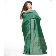 DI- Sea Green Brasso Silk Saree with Zari Pallu and Border  .
