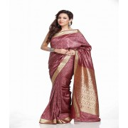 DI- Mauve Pink Brasso Silk Saree with Gold Thread Border  .