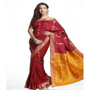 DI- Keri Design Deep Red Art Silk Saree with Contrast Pallu  .