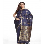 DI- Small Border Navy Blue Art Silk Saree with Zari Keri's  .
