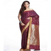 DI- Maroon Art Silk Saree with all-over Floral Butties  .