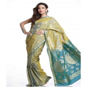 DI- Double Shaded Yellow Green and Blue Art Silk Saree  .