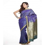 DI- Persian Blue Stripes Design Art Silk Saree Rich Pallu  .