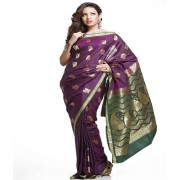 DI- Dark Green Rich Pallu Art Silk Saree in Deep Purple  .