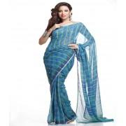 DI- Pure Chiffon Saree in Steel Blue with Zari Stripes  .